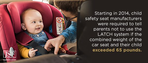 Parents were told not to use the car seat LATCH system if the seat and child were over 65 lbs.