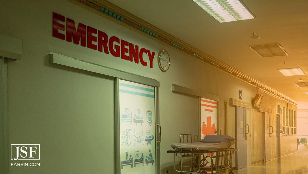 Blur of the emergency room entrance