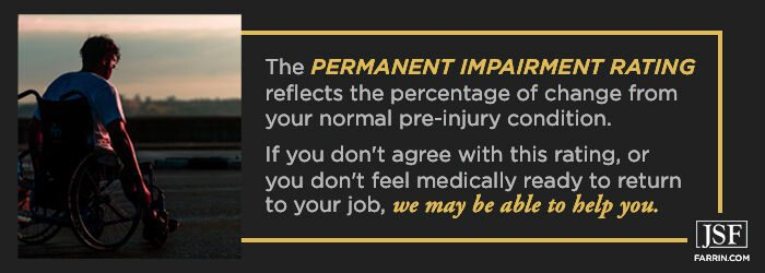 Permanent Impairment Rating is the percent change from pre-injury condition.
