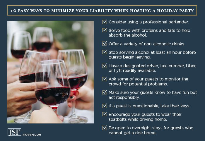 Checklist to lessen liability as a party host.