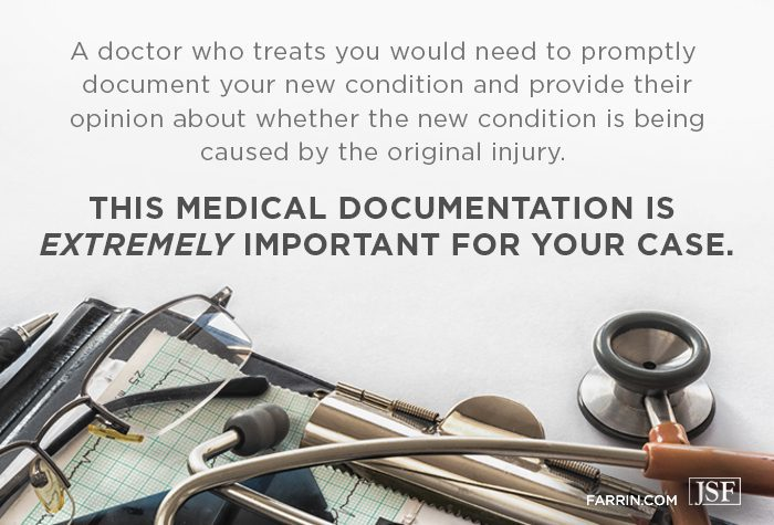 Medical documentation for a secondary injury while on workers' compensation is important.