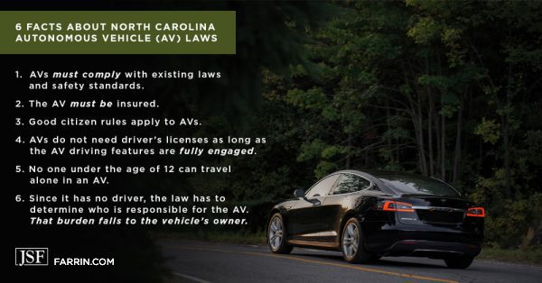 6 facts about NC autonomous vehicle laws including must be insured, comply with existing laws and safety standards, etc.