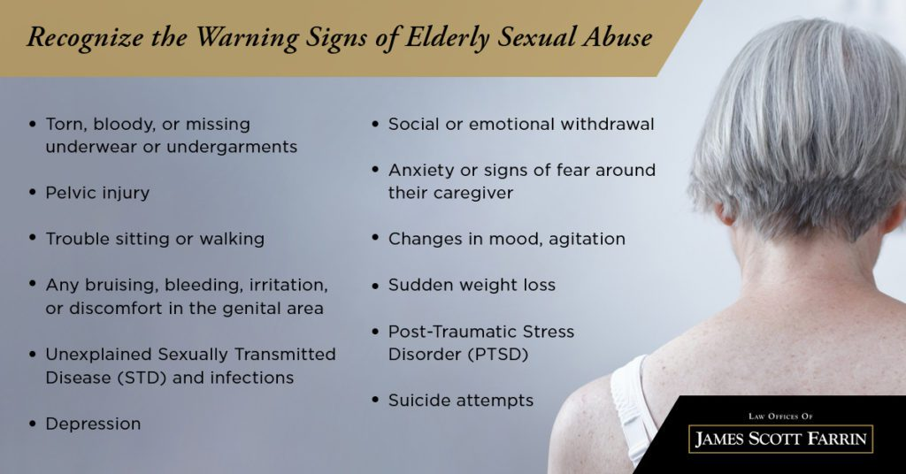 Recognize the warning signs of elderly sexual abuse like depression, pelvic injury, and sudden weight loss