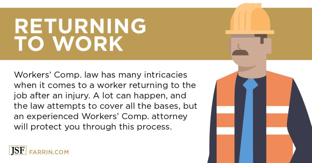 workers' comp law has intricacies on when a worker can return to work after an injury
