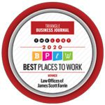 """""""Farrin ranked #1 in the 2020 Best Places to Work Awards list by the """"Triangle Business Journal""""."""