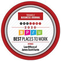 """Farrin ranked #1 in the 2020 Best Places to Work Awards list by the """"Triangle Business Journal"""""""