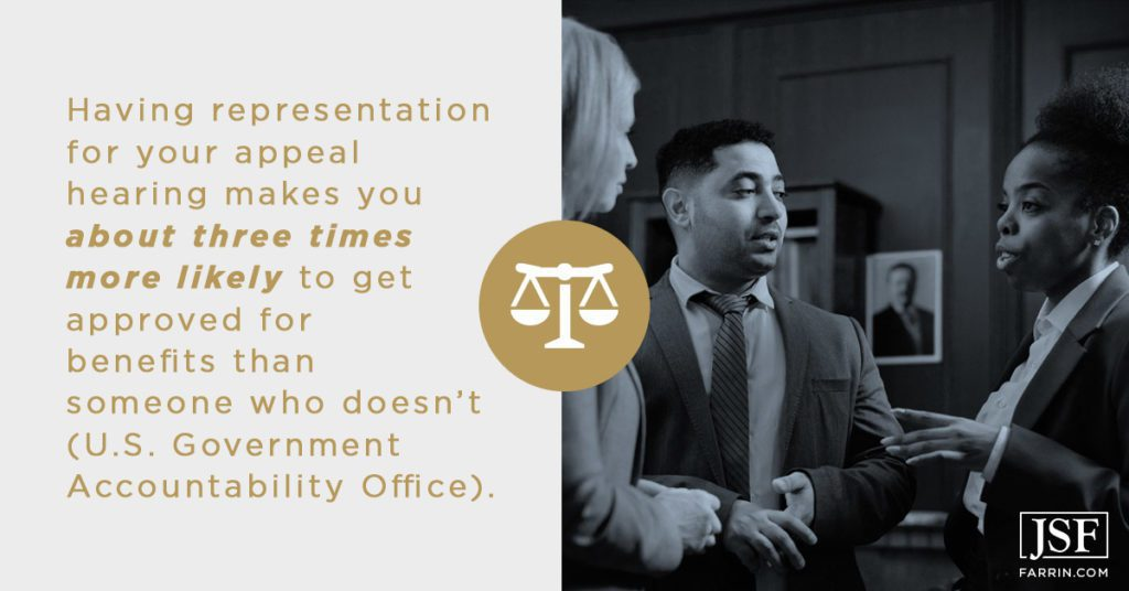 A disability lawyer makes you about three times more likely to get an approval at your next hearing