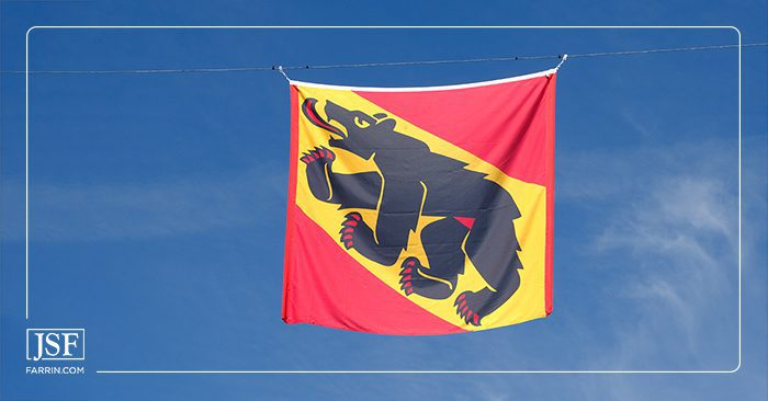 Flag bearing the bear coat of arms of the canton and city of Bern, sister city of New Bern, NC.