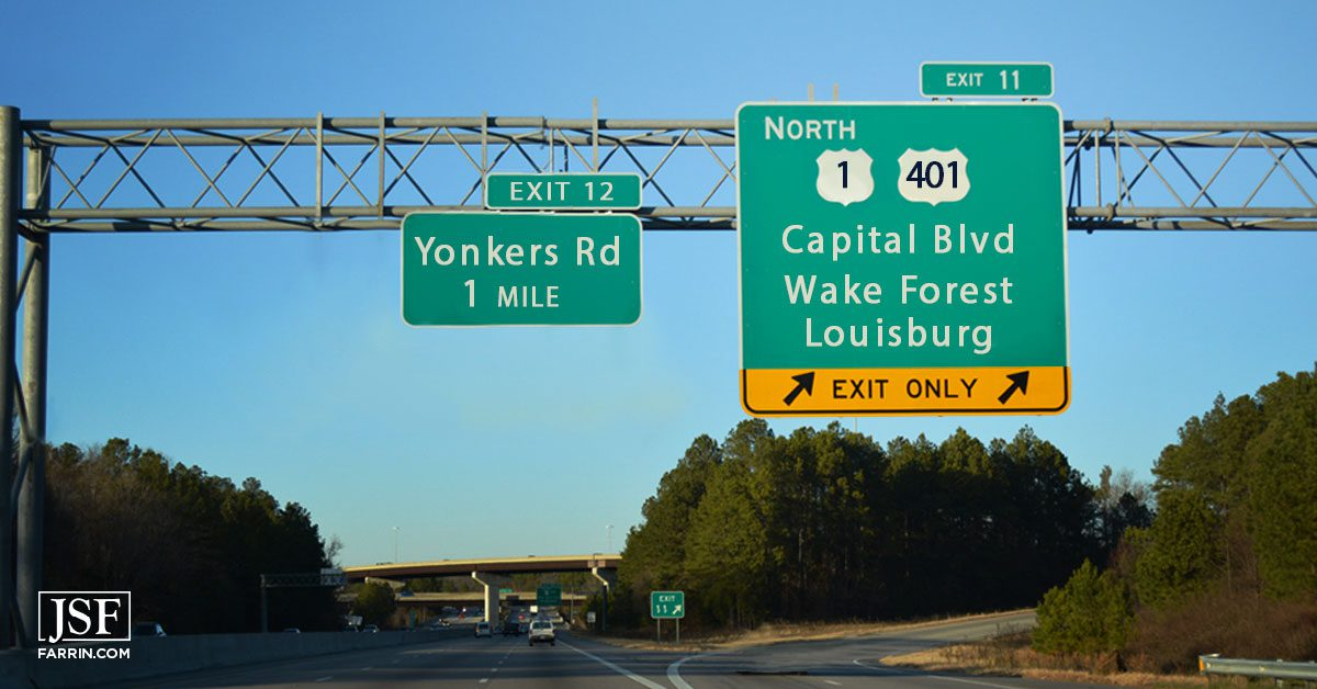 The exit leading to the I-440 and Capital Boulevard intersection - the most dangerous in Raleigh.