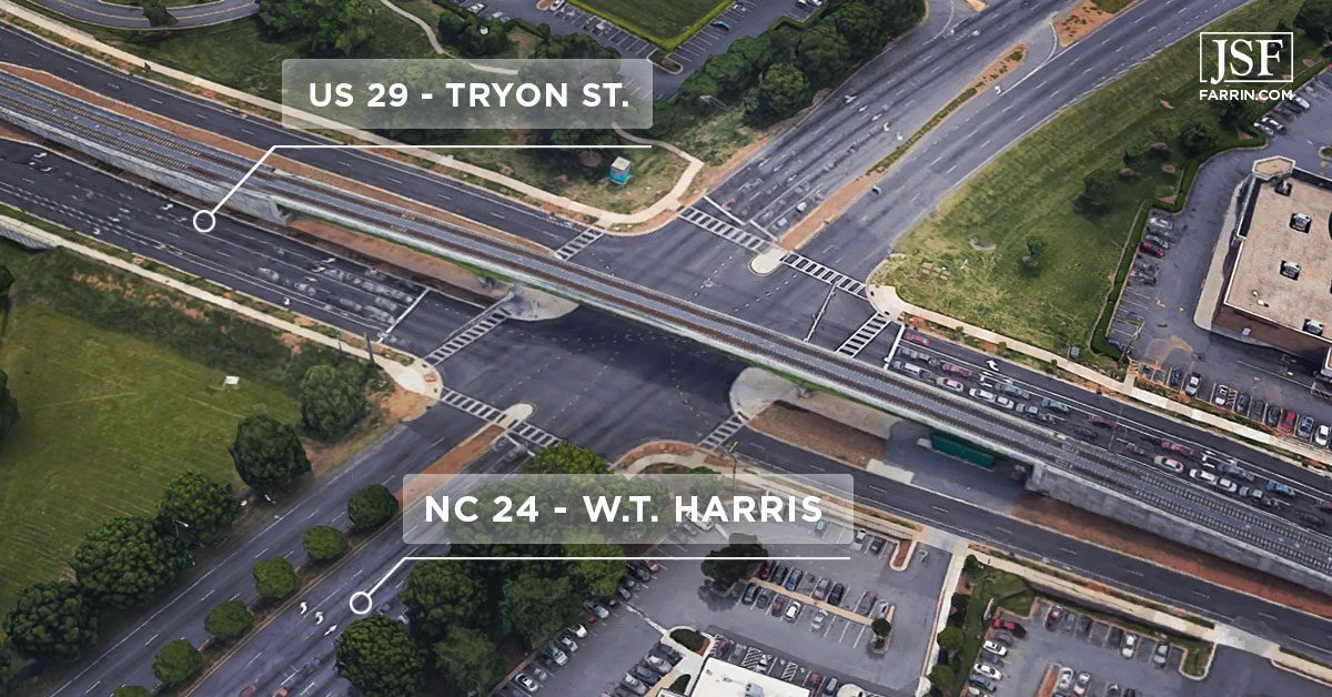 Map of the most dangerous intersection in NC, located in Charlotte between the US 29 and NC 24