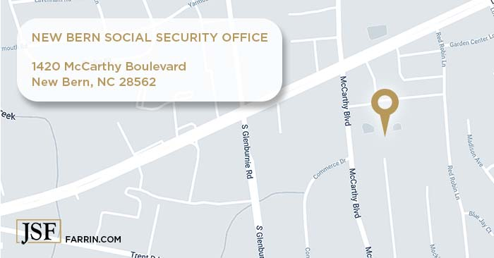 The New Bern Social Security Administration office is located at 1420 McCarthy Blvd, New Bern NC.