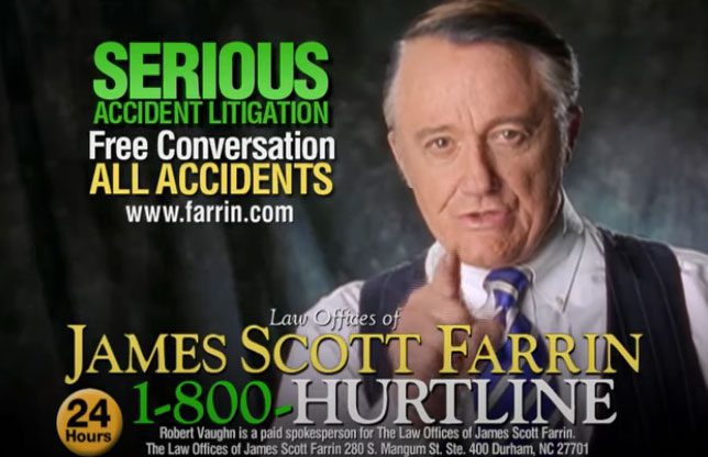 Law Offices of James Scott Farrin TV commercial with the Hurtline number