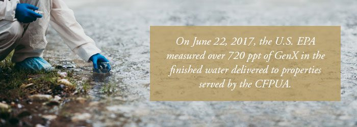 U.S. EPA measured over 720 ppt of GenX in finished water