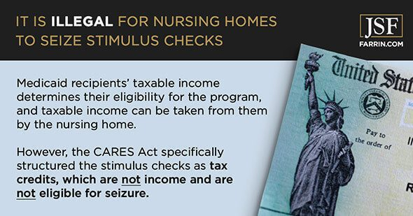 nursing homes can not seize stimulus checks due to the CARES Act