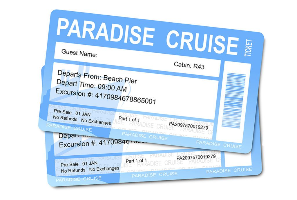 Two light blue cruise ship tickets.