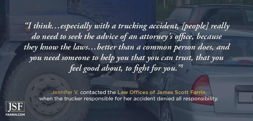 """""""You need someone to help you that you can trust,"""" says Jennifer, a former James Scott Farrin client."""