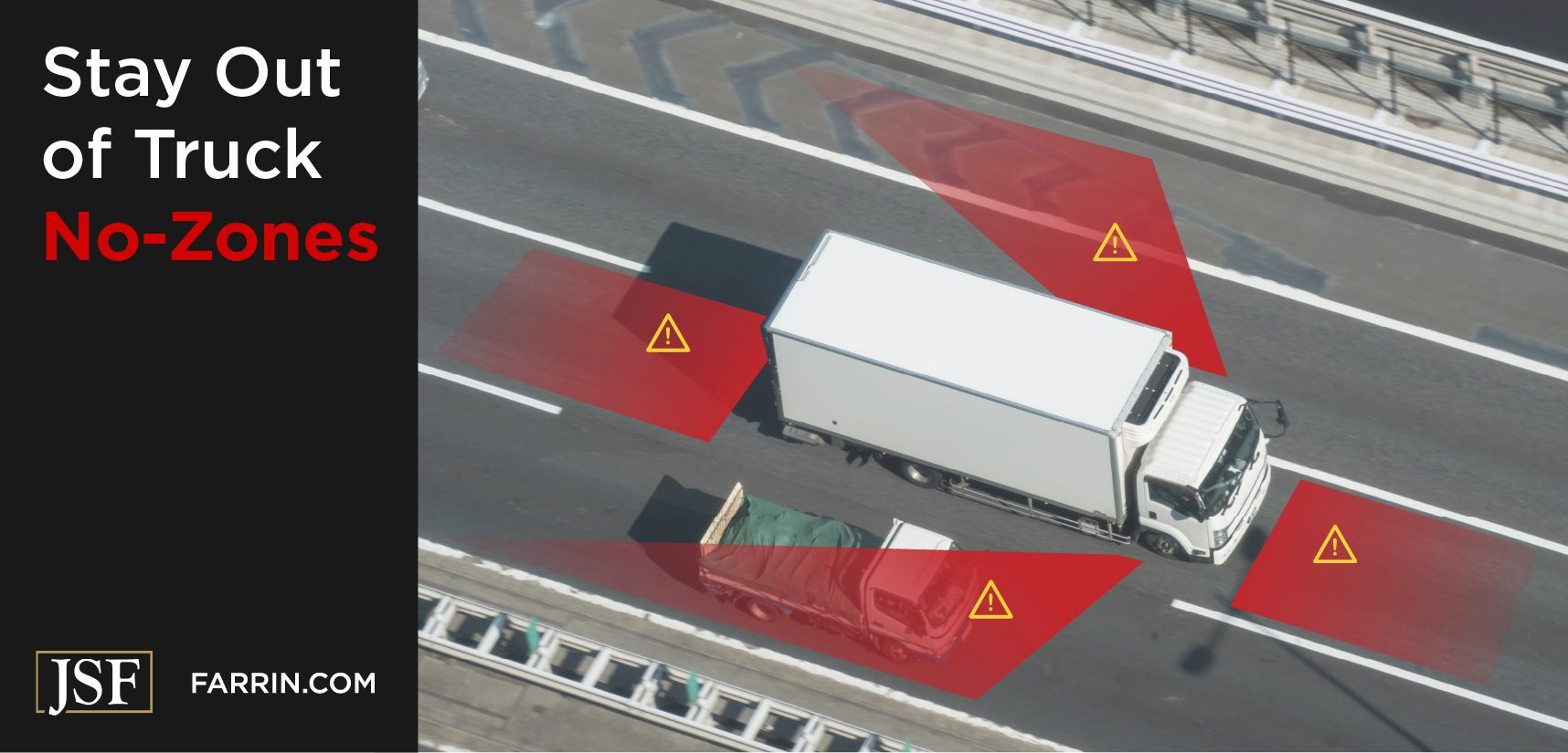 """Truck """"No-Zones"""" are the four dangerous blind spots in front, behind & on either side of the truck."""