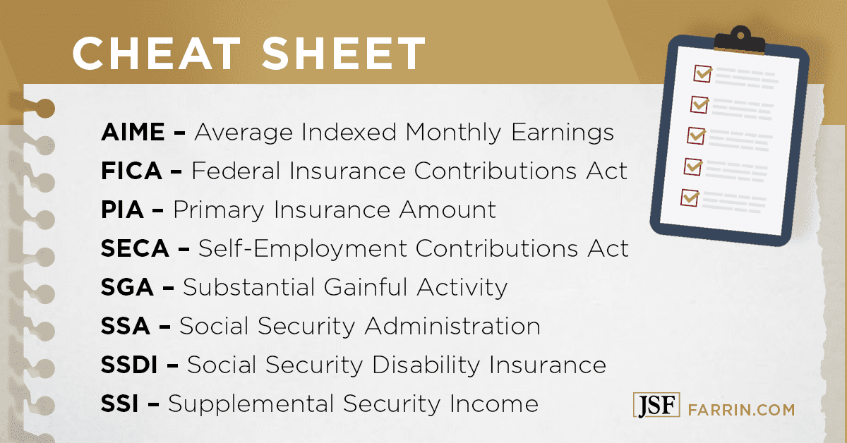 acronym cheat sheet for common social security disability terms