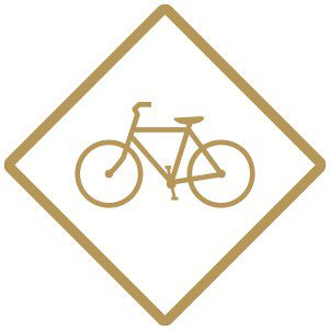 Gold bicycle traffic sign.
