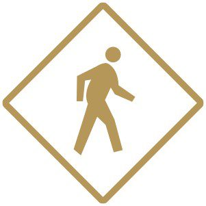 gold person walk sign