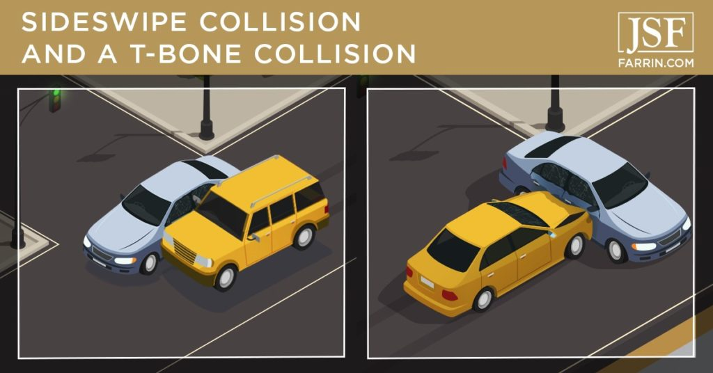 Examples of two cars getting in a sideswipe collision and a t-bone accident at an intersection.