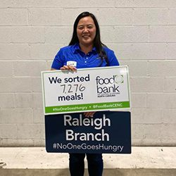 Lisa Hicks donating time to the Food Back in Raleigh