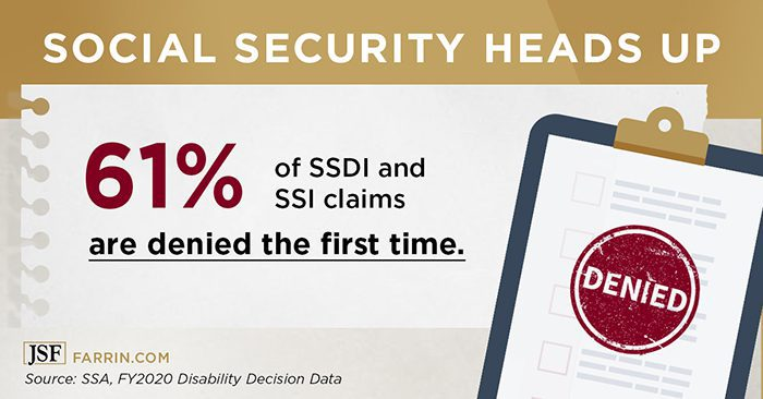 70% of North Carolina SSDI and SSI claims are denied the first time