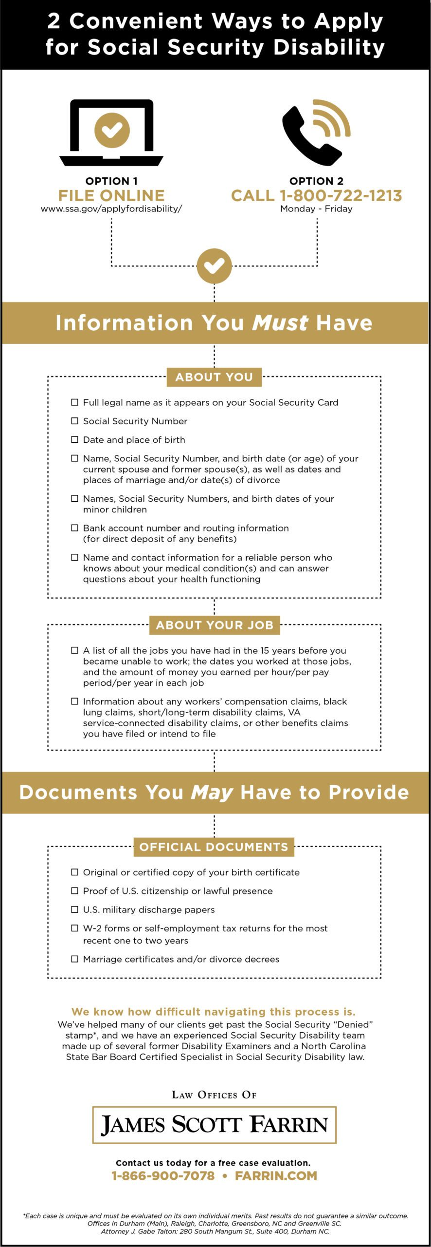 Two easy ways to apply for Social Security Disability, and info & documents you must or may need.