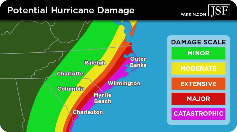 A map of the North and South Carolina coast showing risk of damages from hurricanes.