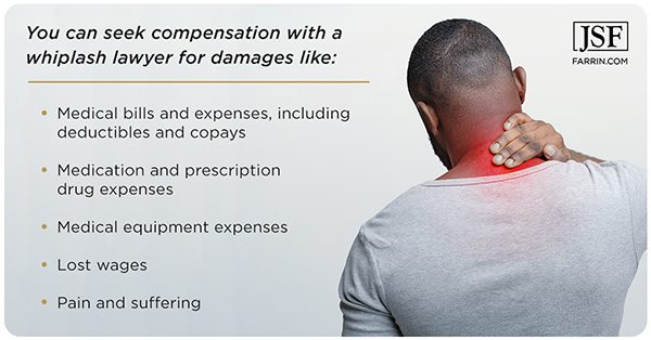 A whiplash injury lawyer can help pursue damages like medical bills, lost wages & medications.