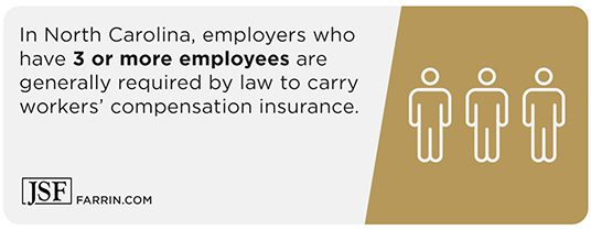 NC requires employers with over 3 employees to have workers' comp insurance.