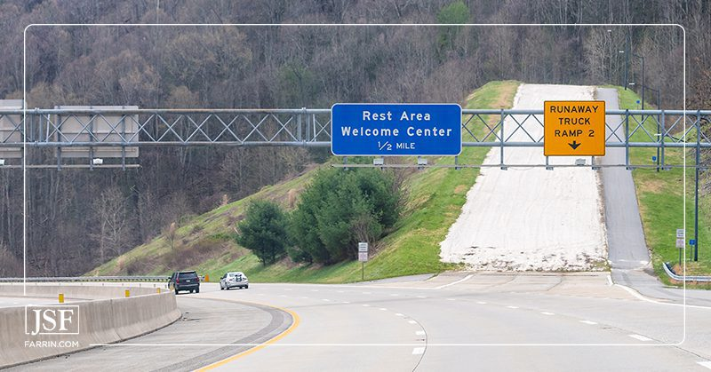 A highway near Asheville, NC, with an emergency ramp for runaway trucks.