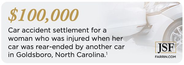 Car accident settlement for a woman who was injured when her car was rear-ended by another car in Goldsboro, North Carolina.