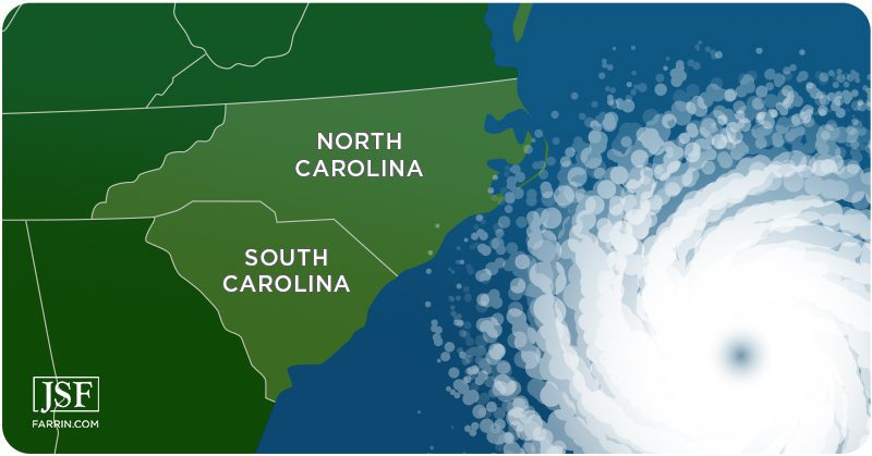 A hurricane off the east coast of North and South Carolina in the Atlantic ocean.