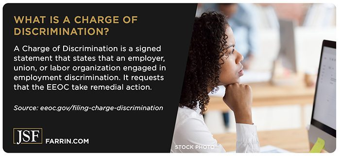A Charge of Discrimination is a signed statement that a work organization engaged in discrimination.