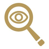 Gold icon of a magnifying glass with an eye inside.