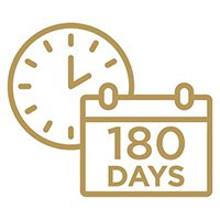 Gold icon of a clock and a calendar that reads 180 Days.