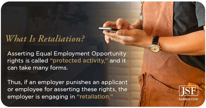 Punishment for asserting EEO rights is a protected activity is defined as retaliation.