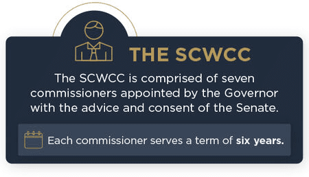 The SCWCC is comprised of seven commissions appointed by the Governor & serve 6 year terms