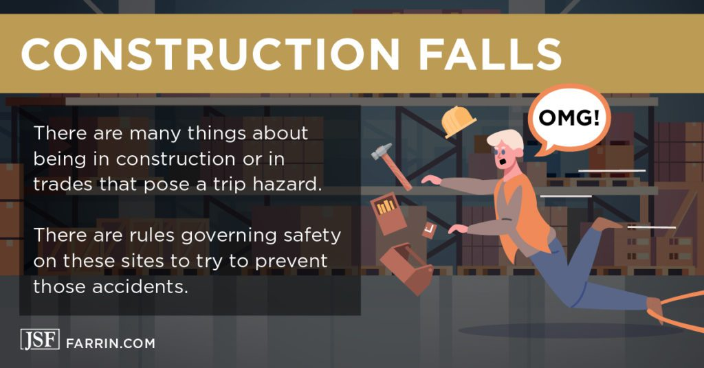 Construction worker has a slip and fall accident at work.