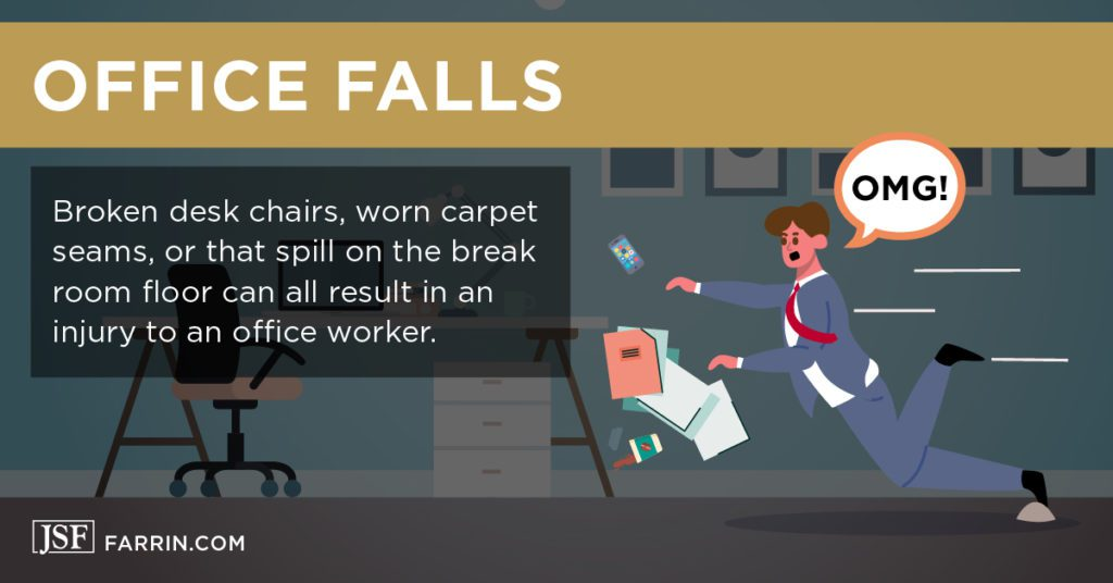 Business man has a slip and fall accident at the office.