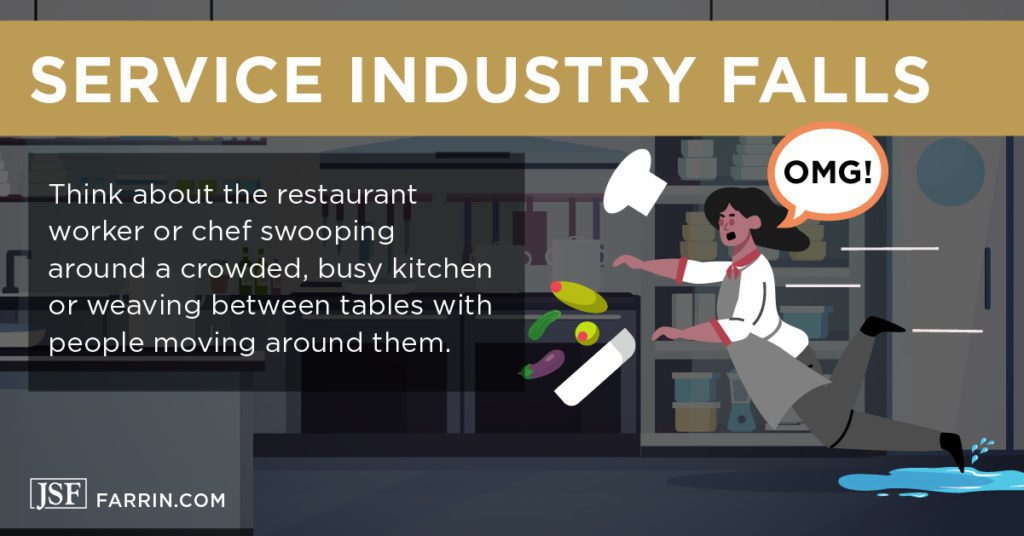 Retail and service worker has a slip and fall accident while working.